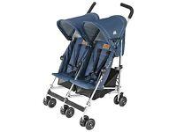Maclaren Denim Indigo Twin Triumph Pushchair - Brand New