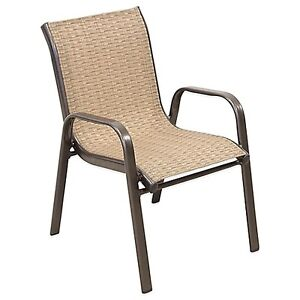 4 patio dining chairs, lightweight and stackable