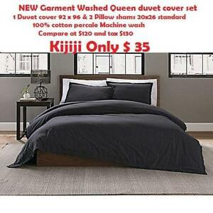 NEW Garment Washed Queen duvet cover set 1Duvet cover 92 x 96 & 2 Pillow shams 20x26 standard 100% cotton percale