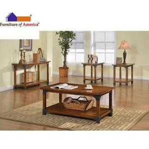 NEW GALAO 3PC COFFEE TABLE SET CM4102-3PK 196061706 ANTIQUE OAK FURNITURE OF AMERICA