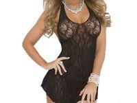Ladies Lingerie Sexy Lace Halter Mini Dress Sleepwear in black UK ONE SIZE £10.00 FREE PP