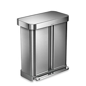 Simplehuman Dual 58-L Step Trash Can - Stainless steel