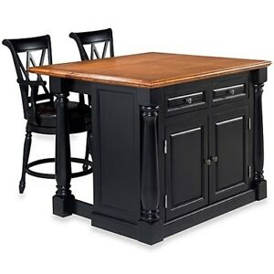 Home Styles Monarch  Kitchen Island with Oak Top NEW