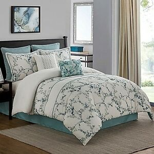 Meadow 8-Piece California King Comforter Set in Aqua
