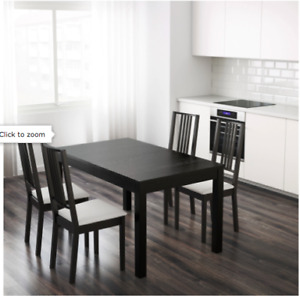 IKEA extendable dining table (brown-black) w/ 4 chairs and bench