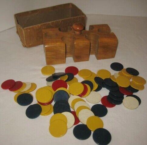 Old Miniature Poker Chip Set in Wood Holder w/ Bakelite Chips