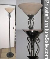 High nice metal Floor Lamp with glass top (shade) in great condi