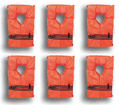 6 Pack Type II Orange Life Jacket Vest Adult Universal Boating PFD w/ Bag