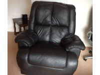 Black leather recliner chair x 2