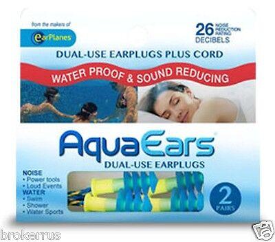 Aqua Ears Water Proof Reduce Sound & Noise Reducing Reusable EARPLUGS nrr 26 db