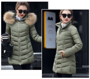Olive Green Puffer Jacket w Detachable Hood and Faux Fur Trim