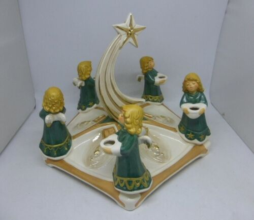 Super Rare Vintage Goebel Weihnacht Germany Angels on Green Base Centerpiece