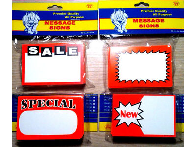 ASSORTED LOT OF 200!! SALE!/SPECIAL!/NEW! PRICE SIGNS RETAIL STORE PRICING TAGS!