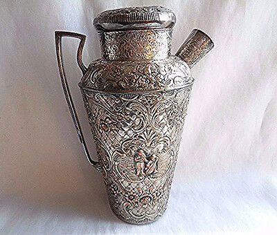 ANTIQUE E.G. WEBSTER SILVER PLT/COPPER COCKTAIL SHAKER- REPOUSSE ORNATE