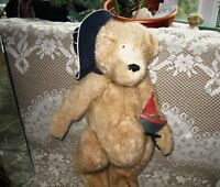 "22"" SWEET WHITE MINK FUR SAILOR BEAR,HAT, BOAT"