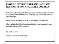 ENGLISH LITERATURE/LANGUAGE AND RUSSIAN TUTOR AVAILABLE