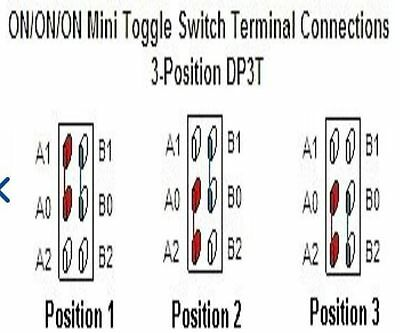 2pcs ON/ON/ON MiNi Toggle Switch Terminal Connection 3