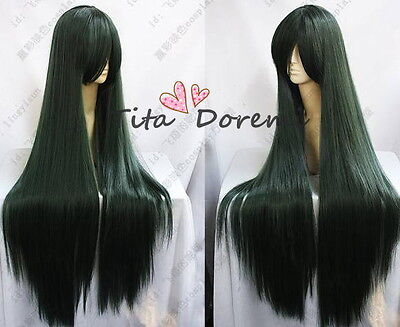 Halloween Wig Hair Cosplay Costume Sailor Moon Sailor Pluto Green long Woman