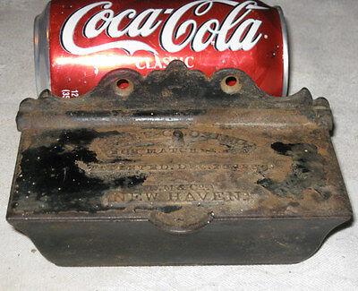 ANTIQUE PRIMITIVE 1860 D.M. CO. NEW HAVEN CAST IRON MATCH SAFE HOLDER STOVE BOX