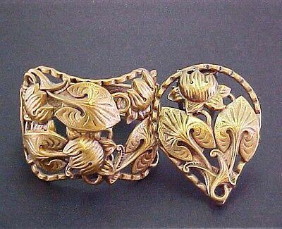 ARTS & CRAFTS ART NOUVEAU LEAVES FLOWER BRASS HINGED BRACELET BROOCH PIN CLIP