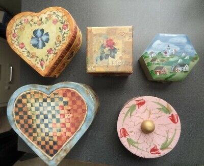 Five Asst. Small Decorative Jewelry Trinket/Gift Boxes - Heavy Cardboard / (Heavy Gift Boxes)