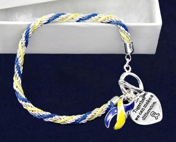 #9040 -- BLUE & YELLOW AWARENESS RIBBON BRAIDED ROPE HEART CHARM TOGGLE BRACELET