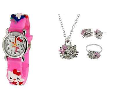 Kitty Girl Watch with Girls 3 Piece Crystal Necklace Earrings Ring Set, HK:W3PS