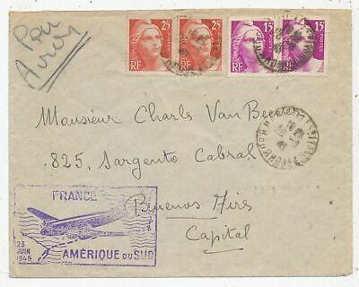 TIMBRE AVION AVIATION AIR FRANCE 1er VOL VERS L' AMERIQUE DU SUD 25 JUIN 1946