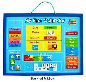 My First Calendar Childrens Wooden Magnetic Season, Weather & Date Chart NEW