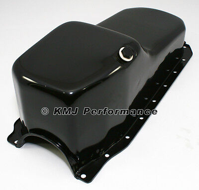 86-02 Sbc Chevy Black Oil Pan - Stock Capacity 305 350 5.7 Vortec 1 Pc Rear Main