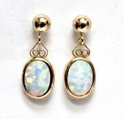 Yellow Gold Opal Earrings Dangle
