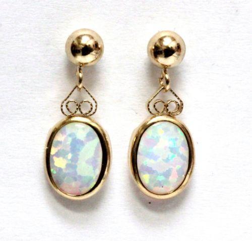Yellow Gold Opal Earrings Dangle Ebay