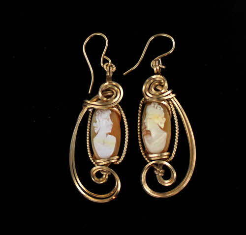 Vintage Antique Shell Cameo Earrings in 14kt Rolled Gold   Wire Wrapped