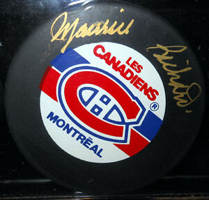 AUTHOGRAPHED PUCK SET GORDIE HOWE MAURICE RICHARD BOBBY HULL Cambridge Kitchener Area image 3