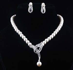 Wedding Party Charms White Imitate Pearl Crystal Lady's Necklace Earrings set