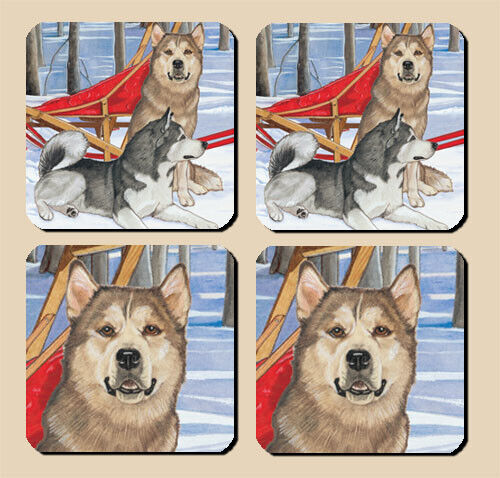 Alaskan Malamute Rubber Coasters Set of 4