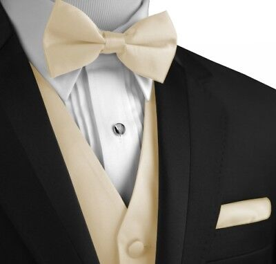 Men's Champagne Satin Formal Tuxedo Vest, Bow-Tie & Hankie. Prom (XS - 6XL LONG) - Vest Bow Tie