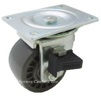 3slpussl 3 Low Profile Swivel Plate Caster With Sure Lok Brake Urethane Wheel