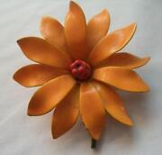 Orange Enamel Flower Brooch