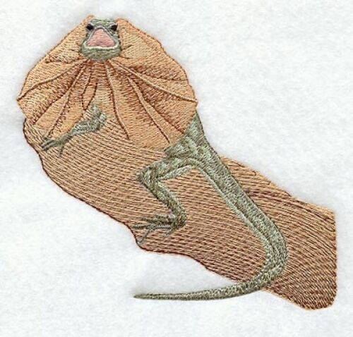 Large Embroidered Zippered Tote - Frill-Necked Lizard M1961