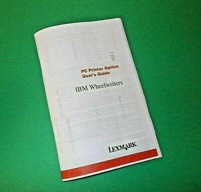 User Manual Only For Ibm Wheelwriter 356 Printer Port 1317545 Option Board
