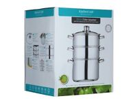 Kitchen Craft Steamer 3 tier Stainless Steel - Perfect for Christmas Vegetables