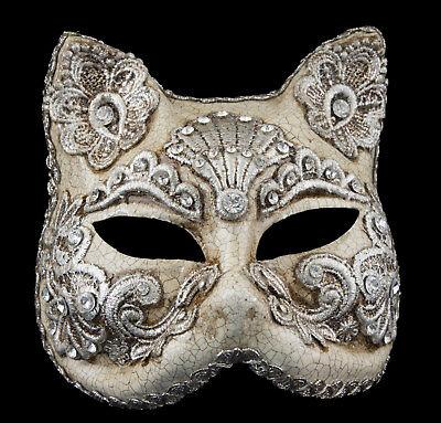 Mask from Venice Face Cat Gatto Paper Mache Macrame Silver 195 VG3B