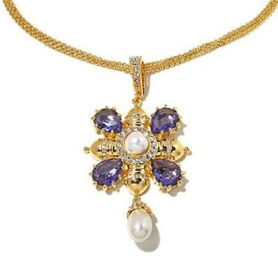 """Joan Boyce Made for a Queen Simulated Pearl Pendant 18"""" Goldtone Chain"""