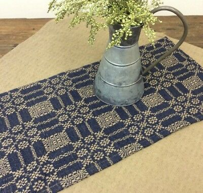 New Primitive Colonial Coverlet LOVERS KNOT Navy Blue Tan Woven Table Runner 32