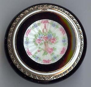 F-B-vintage-beauty-sterling-silver-ENAMEL-flower-basket-COMPACT