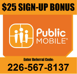 FREE $25 bonus credit for Public Mobile with 2265678137 referral