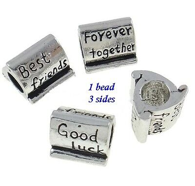 BEST FRIENDS TOGETHER FOREVER GOOD LUCK Antique Silver Large 5mm Hole Charm