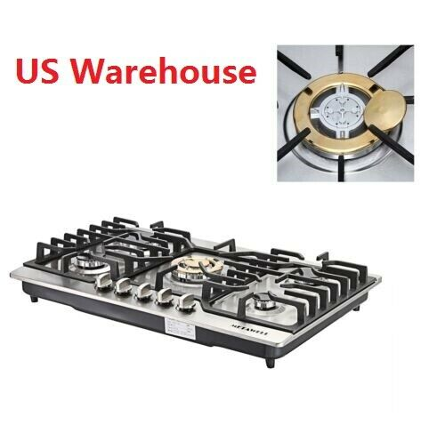 "NG/LPG Gas Hob & Conversion Kit 30"" Stainless Steel Built-in"
