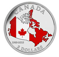 2015 Canada Flag 50th Anniversary Color Coin Map 99.99% Silver